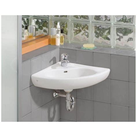 Small Wall Mounted Corner Bathroom Sink by Cheviot Small Wall Mount Corner Bathroom Sink Single