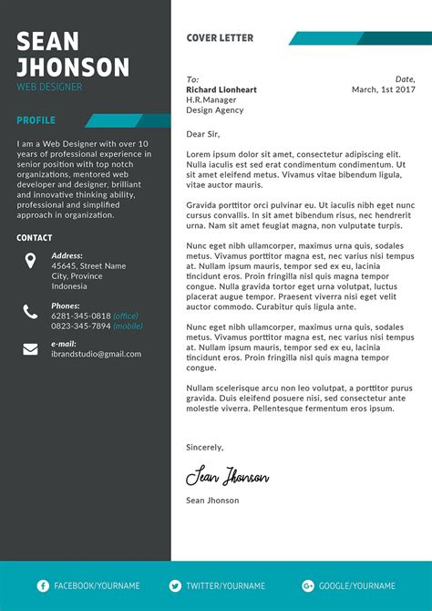 professional psd resume template  cover letter