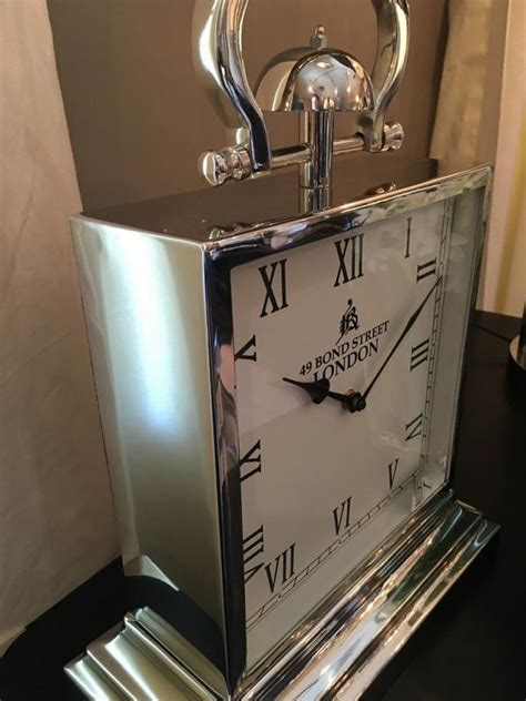 large chrome square steel mantel clock mulberry moon