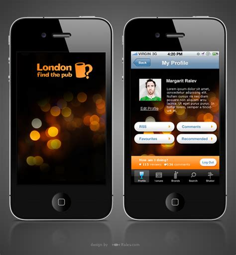 london find  pub iphone app design ralevcom brand