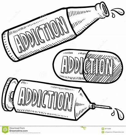 Addiction Drugs Sketch Coloring Pages Drug Abuse