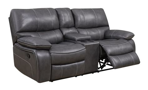 Gray Leather Loveseat u0040 grey black leather console reclining loveseat by