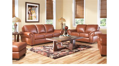 237700 Balencia Light Brown Leather 5 Pc Living Room