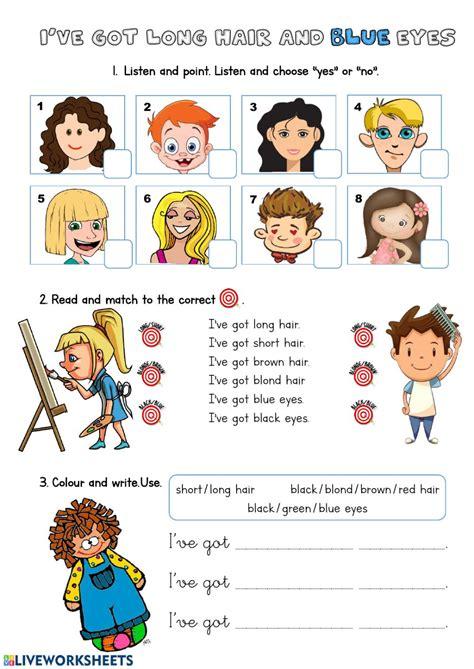 ive  long hair  blue eyes interactive worksheet