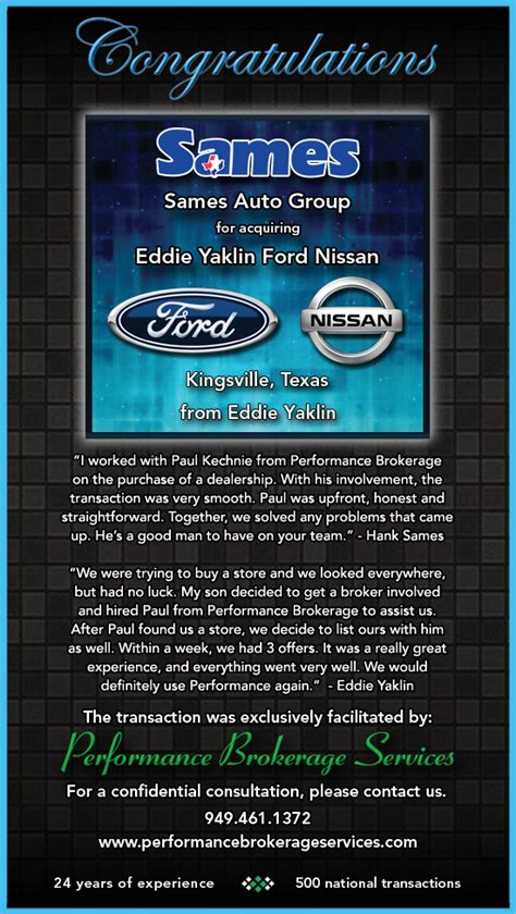 sames auto group buys eddie yaklin ford nissan