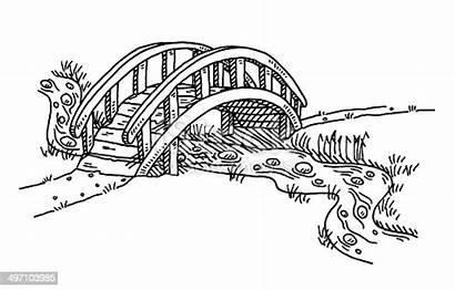 Bridge Clipart Creek Drawing River Sketch Vector