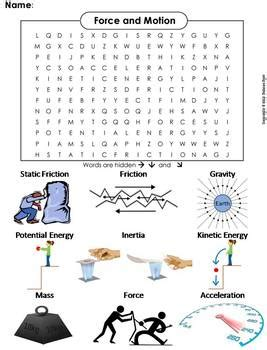 force and motion worksheet word search by science spot tpt