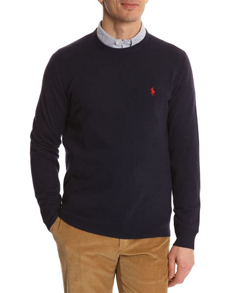 ralph polo sweaters polo ralph navy wool neck sweater in blue for