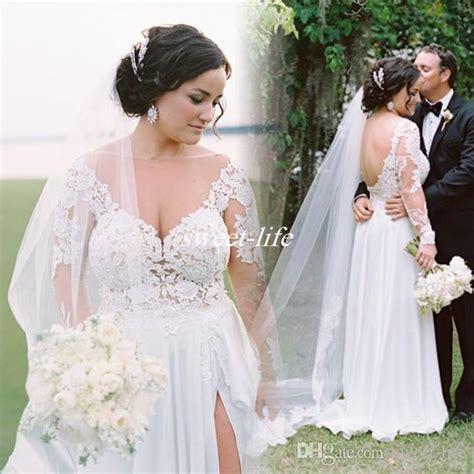sexy  size long sleeve wedding dresses   chiffon