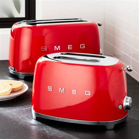 smeg red retro toasters crate  barrel
