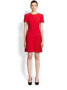 Alexander Mcqueen Pleated Dress in Red (LIPSTICK RED) | Lyst