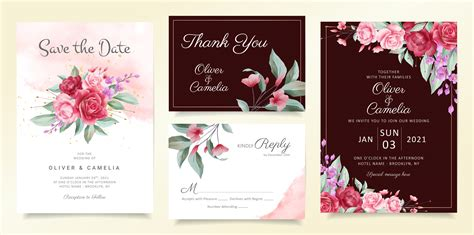 Flowers wedding invitation card template set Download