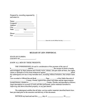 Florida Release Of Lien  Fill Online, Printable, Fillable