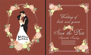 Invitation Card Format For Event Wedding Card Template Groom Bride Flowers Icons Ornament