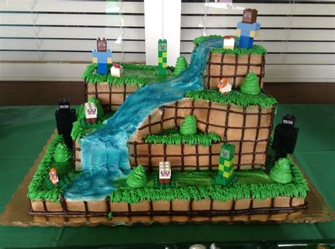 minecraft birthday cake decorations minecraft cake customized at publix then added my own lego builds feel free to