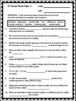 envision math 4th grade 2009 version vocabulary cloze worksheet activities