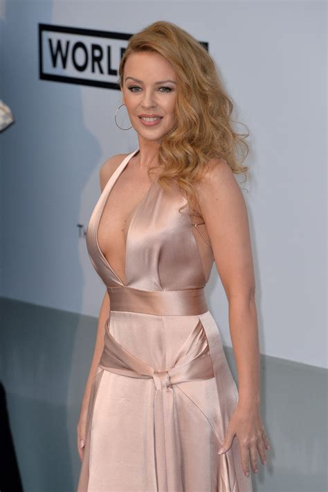 Kylie Minogue Showing Huge Cleavage At Amfar S St Cinema Against Aids Gala
