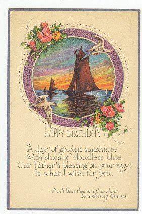 religious happy birthday antique postcard