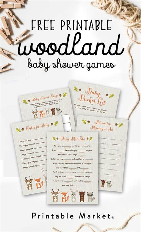woodland fox baby shower printable games printable