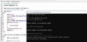 C, Program, For, Selection, Sort, Using, Function