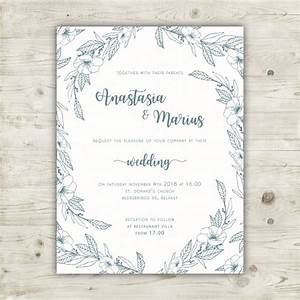 Elegant floral wedding invitation template vector free for Elegant floral wedding invitations vector