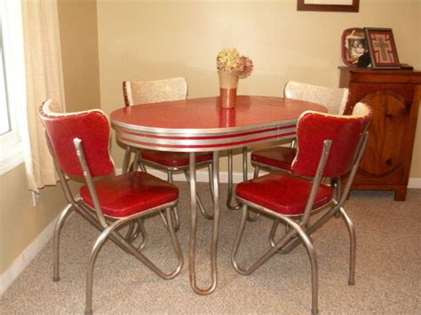 retro kitchen table  chair setdinette dining vintage chrome formica ebay