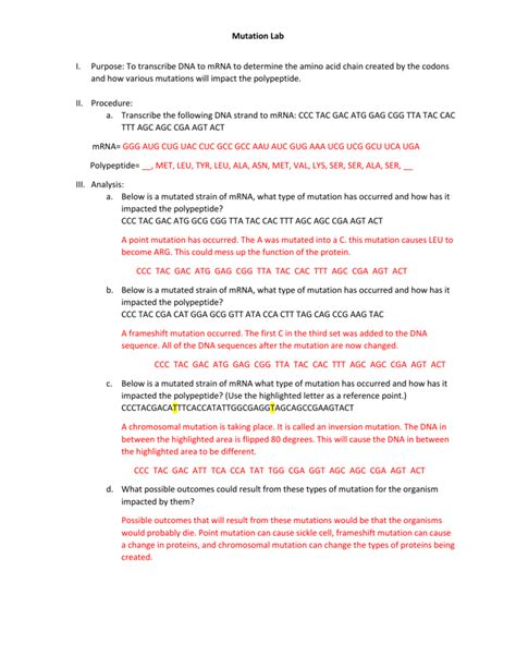 mutations worksheet answers worksheets for all