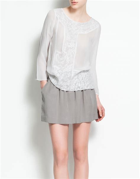 zara blouse zara embroidered blouse in white lyst