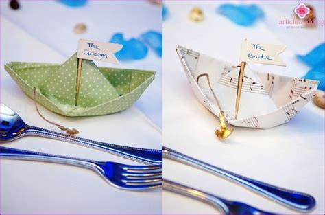 Origami Boat Decoration by Paper Boat In Origami Style For Decorating Wedding Tables