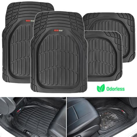 car floor mats dish heavy duty rubber car floor mats 4pc front rear in black all weather ebay