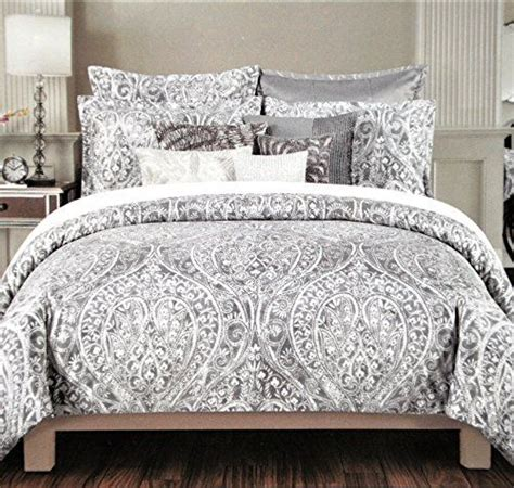tahari home pc duvet cover set paisley medallion silver
