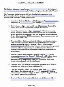 free california sub lease agreement pdf word doc With subletting lease agreement template