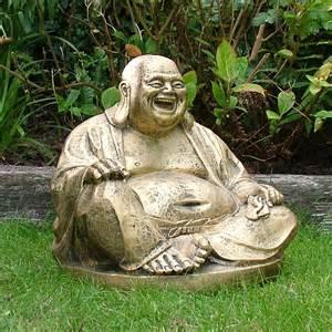garden ornaments gold laughing buddha statue sculpture ebay