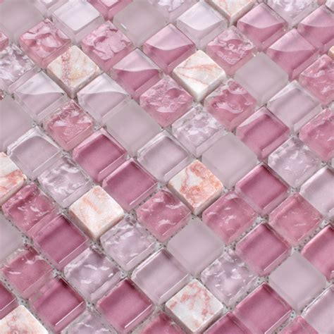 ceramic murals kitchen pink glass tile mosaic square 3 5 quot frosted glass