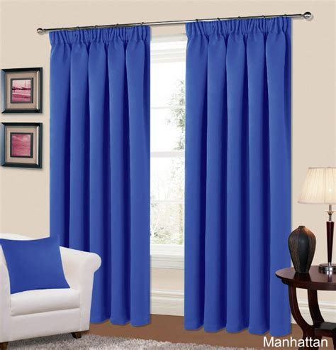 Nursery Curtain Poles by Plain Blue Colour Thermal Blackout Readymade Bedroom