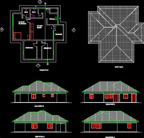 bedroomed simple house dwg plan  autocad designs cad