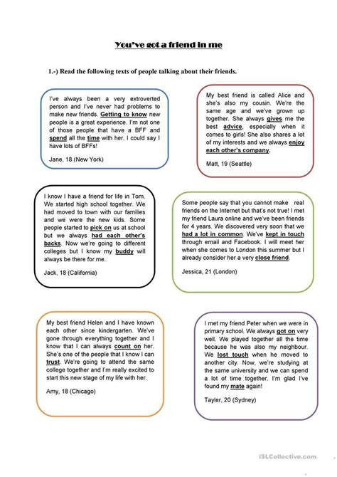friendship worksheets  middle school db excelcom