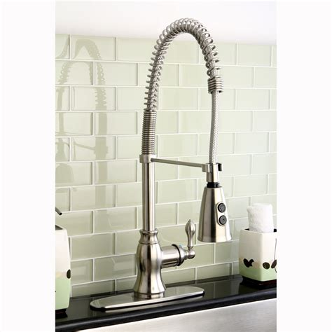 industrial faucet kitchen american kitchens design with satin nickel industrial faucet base faucets and kingston brass