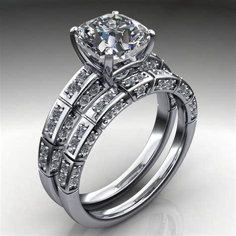 ring 2 carat cushion cut neo moissanite engagement and wedding band j designs