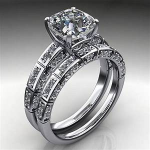 Jada ring 2 carat cushion cut neo moissanite engagement for Cushion cut engagement rings with wedding band