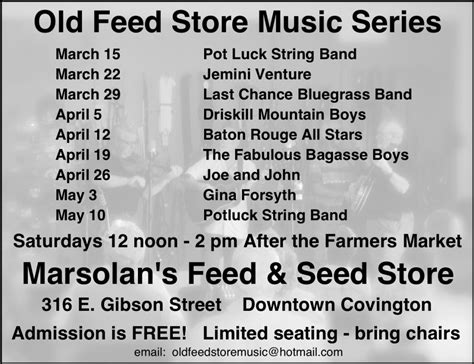 marsolan s old feed store music series spring 2014