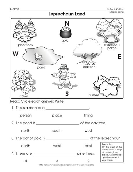 Reading A Map Worksheet (easy And Free To Click And Print!)  St Patrick's Day  Social Studies