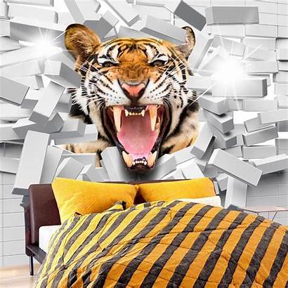 Tiger Jump Tijger Fotobehang Tigre Salto Fototapeta