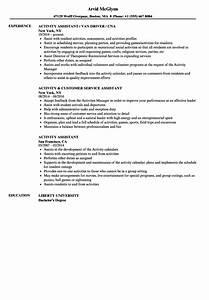 Resume Certified Nursing Assistant Activity Assistant Resume Samples Velvet Jobs