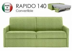 Canapé Convertible Vert : canape lit 3 places sun convertible ouverture rapido 140cm microfibre vert anis ~ Teatrodelosmanantiales.com Idées de Décoration