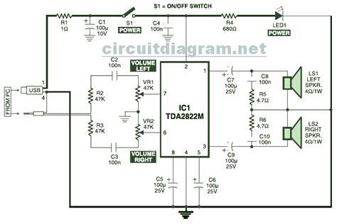 usb powered stereo computer speaker circuit schematic