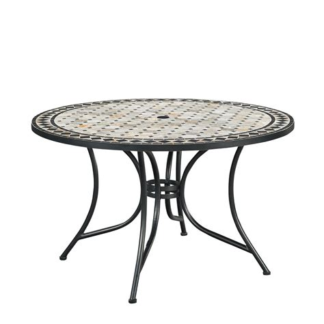 round metal outdoor table hton bay belcourt metal round outdoor dining table