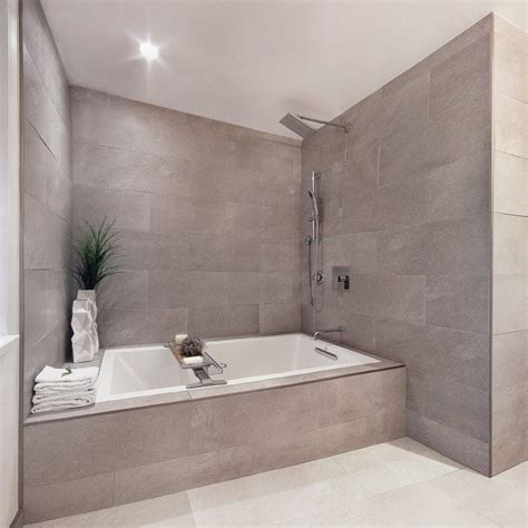 Drop In Tub Shower Combo gray wall indent gray shower tiles soaking tub with shower
