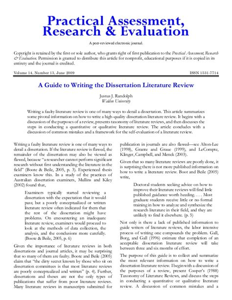 guide  writing  dissertation literature review
