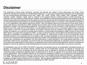 Lazard ltd 2017 q1 results earnings call slides for Earnings disclaimer template